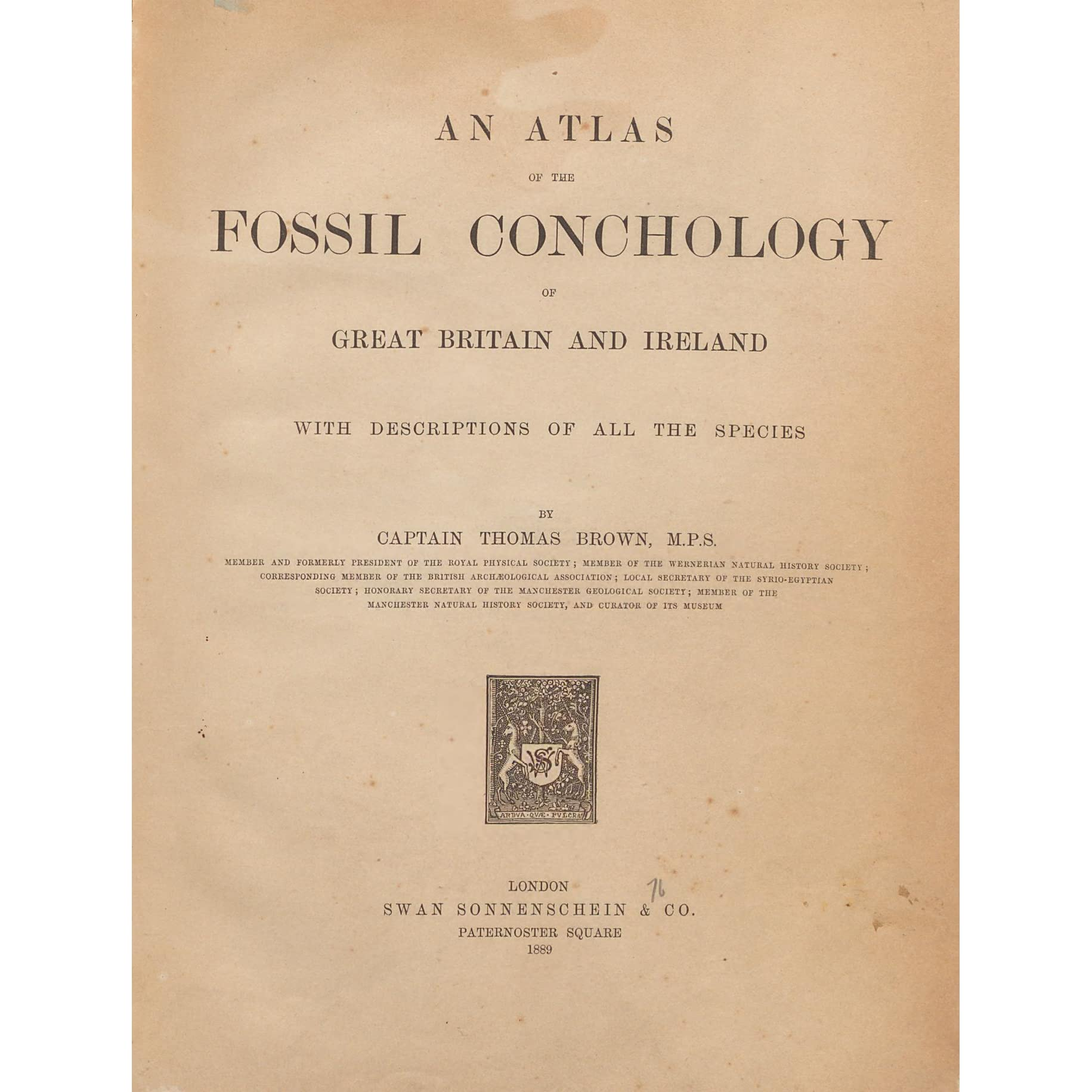 An Atlas Of The Fossil Conchology Great Britain And