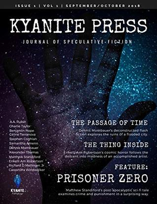 A ghostly hand reaches towards us from a starry night sky on the cover of The Kyanite Press Volume 1, Issue 1
