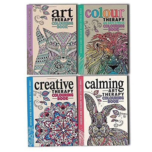 Art Colour Creative And Calming An Anti Stress Therapy Adult Colouring 4  Books Collection Set By Hannah Davies