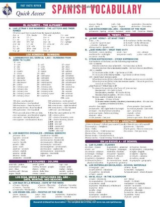 Spanish Vocabulary - REA's Quick Access Reference Chart (Quick Access Reference Charts) (English and Spanish Edition)