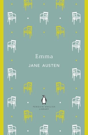 Book cover for Emma by Jane Austen. Blue background with yellow  and white chairs
