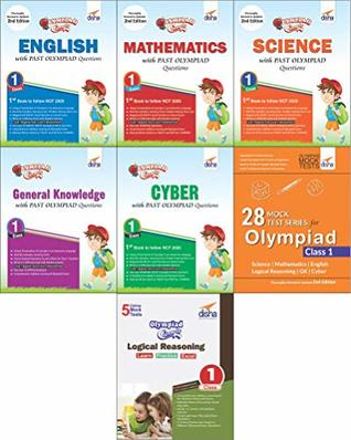 Olympiad Champs Science, Mathematics, English, Logical Reasoning, Cyber & GK Class 1 with 28 Mock Tests (Set of 7 Books)