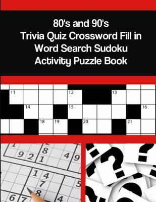 80's and 90's Trivia Quiz Crossword Fill in Word Search