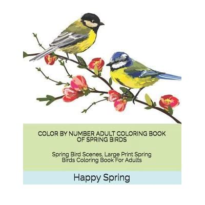 - Color By Number Adult Coloring Book Of Spring Birds: Spring Bird Scenes,  Large Print Spring Birds Coloring Book For Adults By Happy Spring