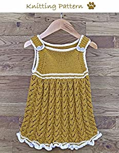 Sun Dress with Frill Hemline and Crochet Edgings Knitting Pattern to fit baby/toddler 6, 12, 18 and 24 months old (no. 45)