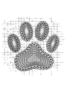 Tribal Dog Paw Print on Distressed Background: 110 Page