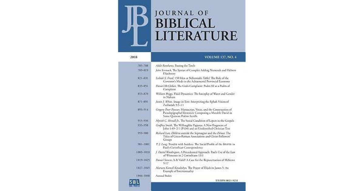 Journal of Biblical Literature 137 4 (2018) by Adele Reinhartz