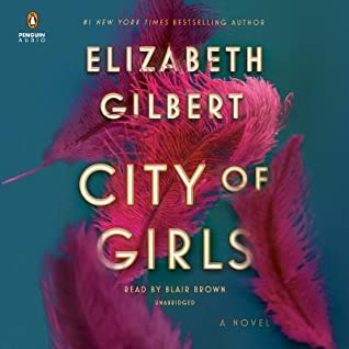City of Girls book cover (fluffly pink feathers falling down a teal background)