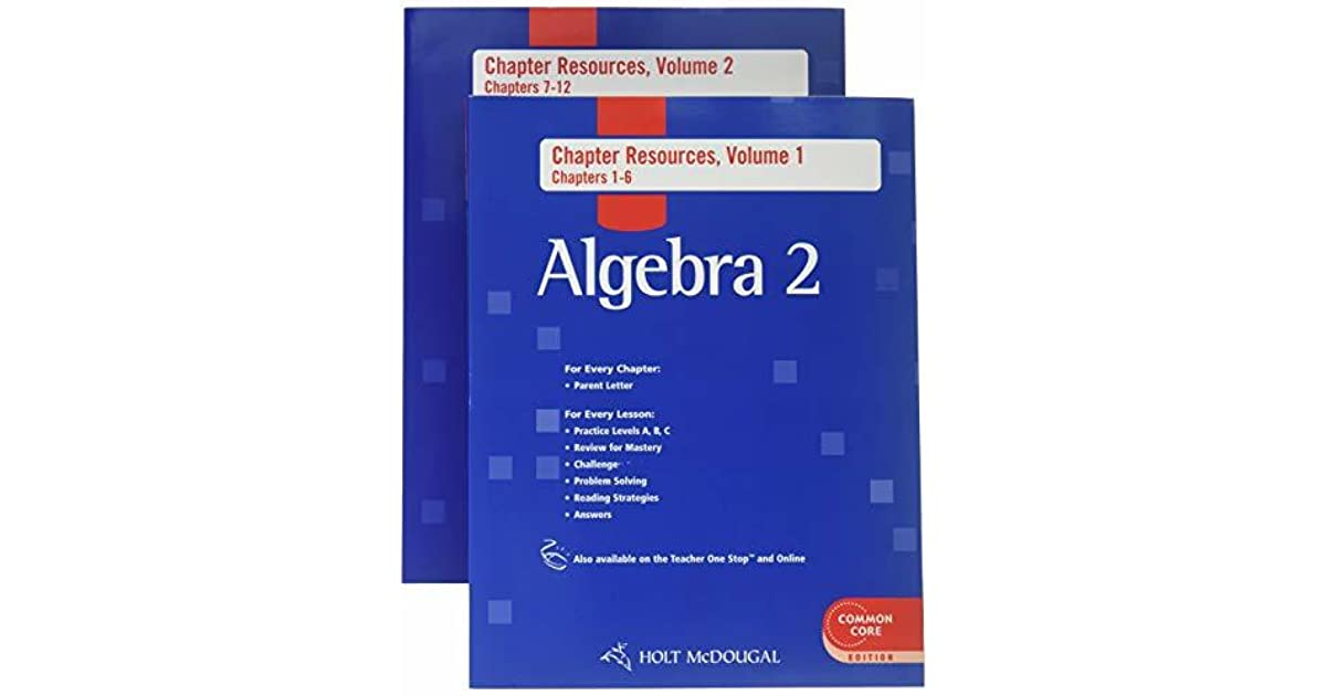 Holt McDougal Algebra 2: Chapter Resource Book with Answers