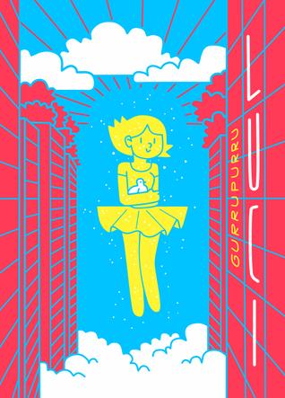 Portada de Patata, que es una chica-holograma flotando entre edificios de una gran ciudad