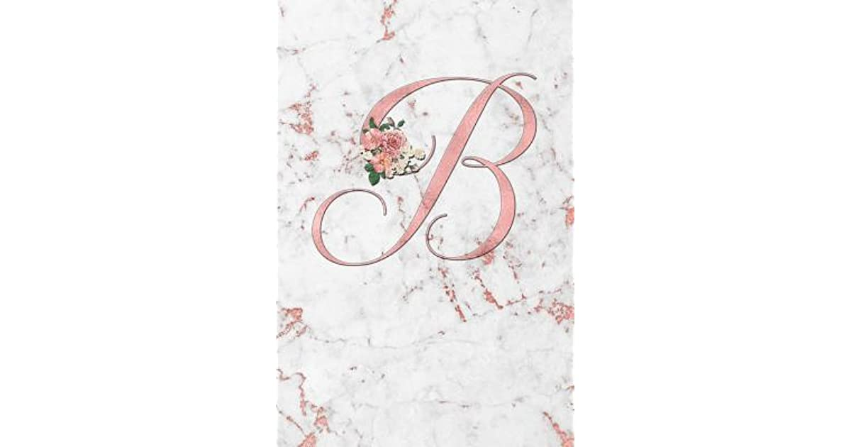 B: Letter B Journal, Rose Gold on Rose Gold Marble III, Personalized Composition Book Monogram ...