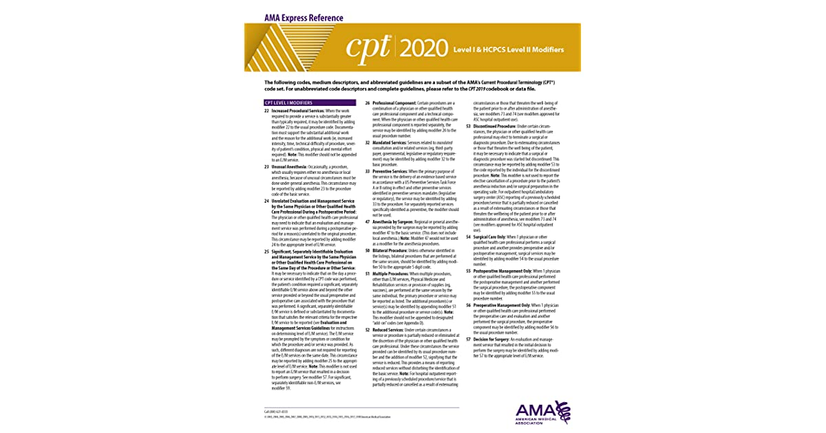 Cpt Modifiers List 2020.Cpt 2020 Express Reference Coding Card Level I Hcpcs Level
