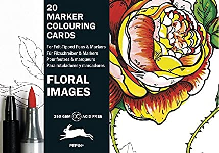 Floral Images: Marker Colouring Cards Book