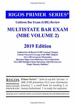 Rigos Primer Series Uniform Bar Exam Ube Review Multistate Bar Exam Mbe Volume 2 By Mr James J Rigos
