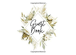 Guest Book: Modern pampas grass and dried flowers watercolor design | For harvest inspired showers, weddings and celebrations | 250 guests and their comments