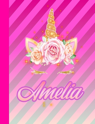 Amelia: Wide Ruled Composition Notebook Unicorn for Girls Teens Journal for School Supplies - 110 pages 7.44x9.76