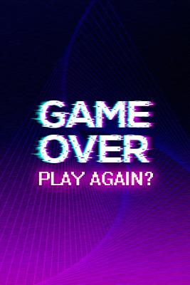 Game Over Play Again Blank Lined Notebook Vaporwave Purple By Not A Book