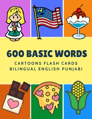 600 Basic Words Cartoons Flash Cards Bilingual English Punjabi Easy Learning Baby First Book With Card