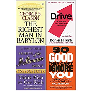 The Richest Man In Babylon, Drive Daniel H. Pink, Secrets of the Millionaire Mind, So Good They Can't Ignore You 4 Books Collection Set