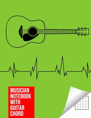 Musician Notebook with Guitar Chord - Guitar/Bass Fretboard Paper Cool Bassist Gift For A Bass Player Notebook guitar chords in light green Cover