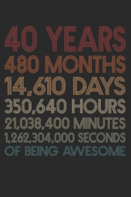 40 Years Of Being Awesome: 480 Months 40-Year-Old 40th Birthday Gift For 40 Year, day, minute, second Birthday Gift for Man & Woman. Blank Lined Vintage Notebook Journal for Writing Notes-6x9 Inch 110 Pages White Paper Wide Ruled Retro Notebook Gift Funny Beast