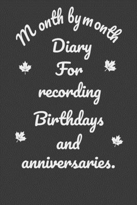 Month by month Diary For recording Birthdays and anniversaries: Birthday Reminder, Important Dates Record Book, Birthday Reminder Perpetual Event Calendar, Birthdays Anniversaries Events, 6 x 9, 120 pages.