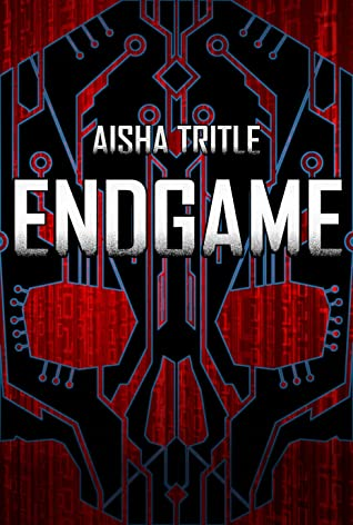 A skull stylised with an abstract circuitboard theme on the cover of Endgame by Aisha Tritle