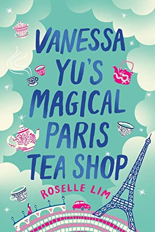 BOOK COVER: clouds, pink and white tea cups, eiffel tower against teal background