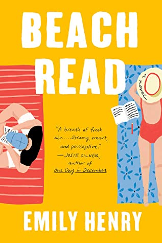 Beach Read by Emily Henry book cover. Two people laying on towels, reading.