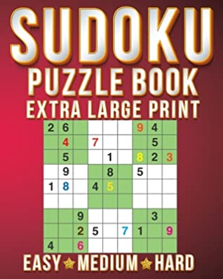 Puzzle Books For Teens: Sudoku Extra Large Print Size One Puzzle Per Page (8x10inch) of Easy, Medium Hard Brain Games Activity Puzzles Paperback Books with for Men/Women & Adults/Senior