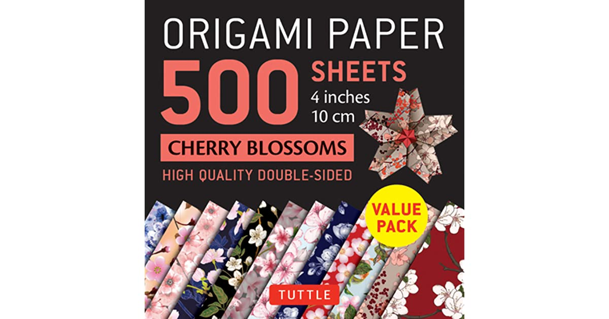 Origami Paper 500 sheets Cherry Blossoms 4 Tuttle Origami Paper 10 cm High-Quality Double-Sided Origami Sheets Printed with 12 Different Patterns