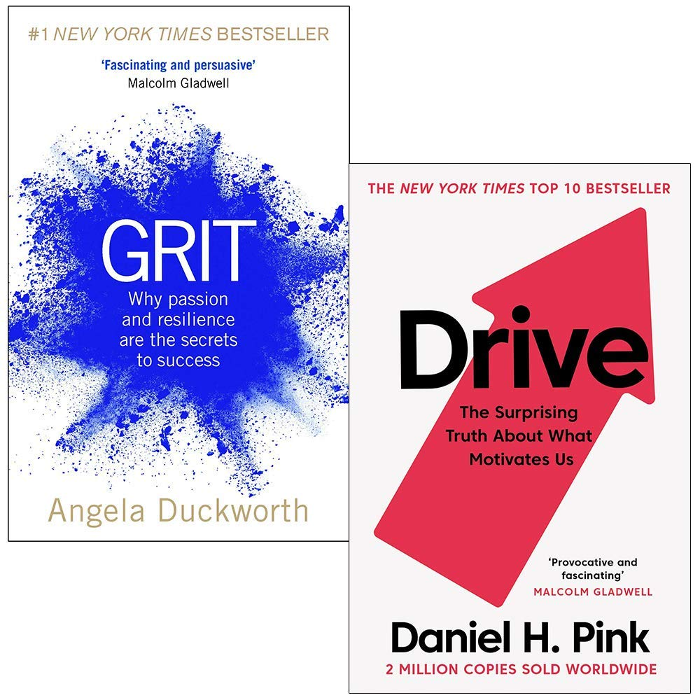Grit Why passion and resilience are the secrets to success & Drive The Surprising Truth About What Motivates Us 2 Books Collection Set Angela Duckworth, Daniel H. Pink