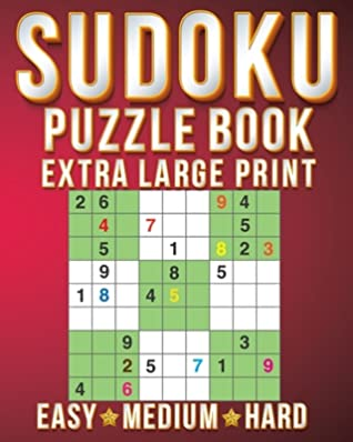 Sudoku Book Small: Sudoku Extra Large Print Size One Puzzle Per Page (8x10inch) of Easy, Medium Hard Brain Games Activity Puzzles Paperback Books with for Men/Women & Adults/Senior