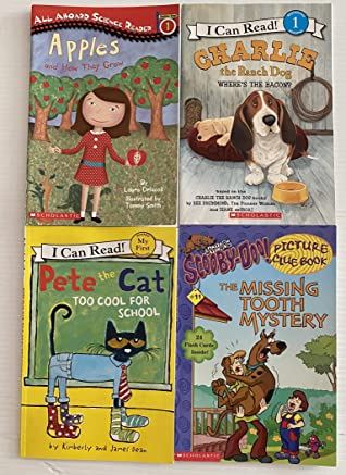 4 Level 1 Books! 1) Apples and How They Grow 2) Charlie The Ranch Dog: Where's the Bacon(I Can Read Book) 3) Pete the Cat:Too Cool for School (I Can Read Book) 4) Scooby-Do:The Missing Tooth Mystery