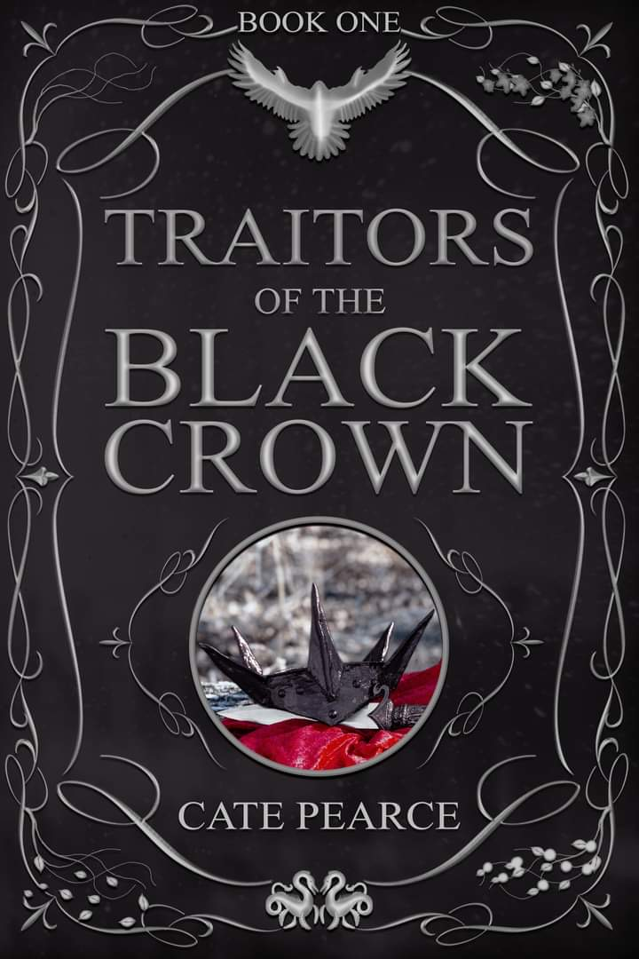 book cover features a black background with silver detailing and a photo of a black crown in the centre.
