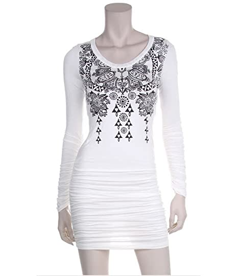 AMBITIOUS! DIAMOND PATTERNED LONGSLEEVE DRESS (WHITE) (BLACK) Pictures, Images and Photos