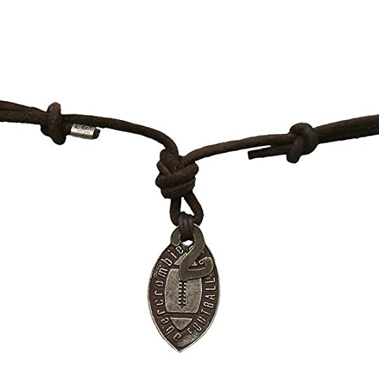 necklace for boys photo: Abercrombie 2007 Boys 2 Football Pendant Leather Necklace leatherfootballnecklaceBrown1250.jpg