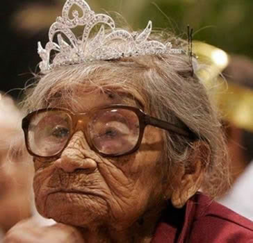 old woman wearing tiara