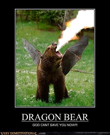 Bear/dragon hybrid breathing fire