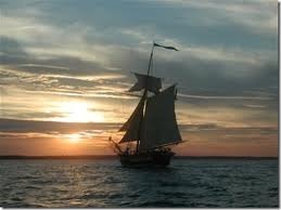 sailing toward sunset