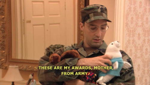 Buster Bluth saying, 'These are my awards, Mother, from army'