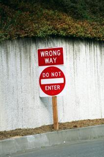 Warning! You are going the wrong way!