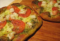 Rustic Pesto Pizza With Crab Surimi, Fresh Mozzarella, and Tomatoes Recipe by Doug DuCap