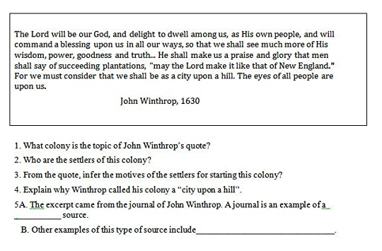 city upon a hill essay apush The apush dbq it's the long essay, with documents and higher expectations.