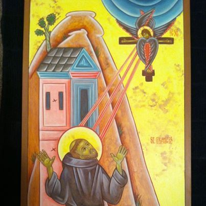 Photo: And St. Francis receiving the stigmata...my latest icons from an advanced workshop in Scottsdale.