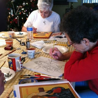 Photo: Iconography workshop...we completed our icons in 2 days! (a total of 18 hours)! Pray on...