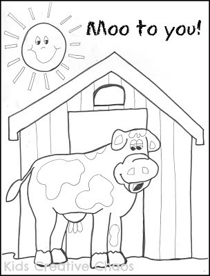Big Red Barn Cow Coloring Sheet for Preschool Creative Country Sayings Farm Edition