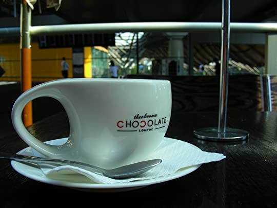 A long black at Theobroma Chocolate Lounge, Southern Cross Station, Melbourne.