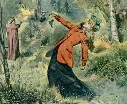 woman firing a pistol in a duel