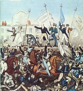 Detail of an illustration by Richard Carlile of the Yeomanry attacking the meeting in St Peter's Field, Manchester.